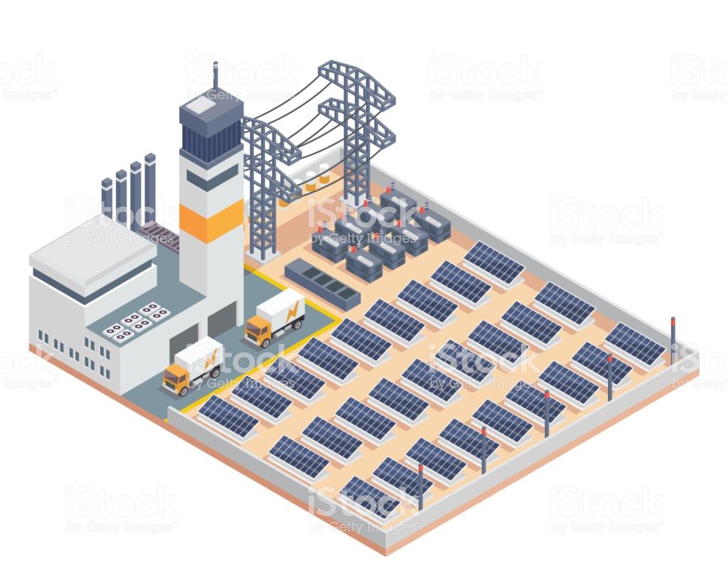 Modern Isometric Industrial Electricity Solar Plant Facility