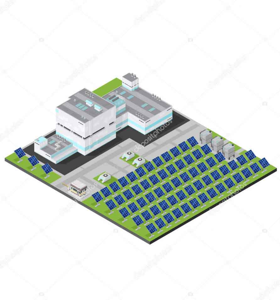 Modern Isometric Industrial Electricity Solar Plant Facility2